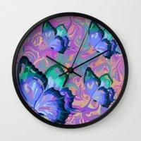butterflies Wall Clocks featuring butterflies by Shea33