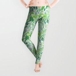 greenery watercolor pattern Leggings