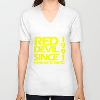 manchester V-neck T-shirts featuring Since Manchester by Sport_Designs