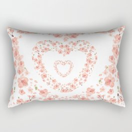 Modern coral pink watercolor valentine's hearts floral Rectangular Pillow