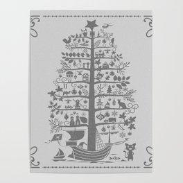 Christmas tree ship (gray) Poster
