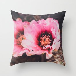 Faded Desert Blooms Throw Pillow
