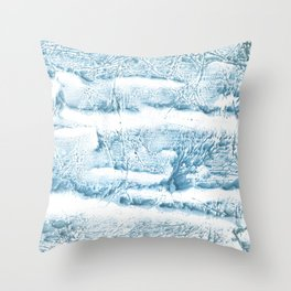 Blue marble streaked wash drawing Throw Pillow