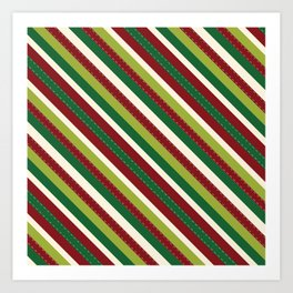 Festive Holiday Diagonal Thick and Thin Striped Lime Greens Reds Art Print