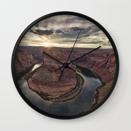 Picture Grand Canyon Park USA Colorado Horseshoe Bend Crag Canyon Nature park river Rock Cliff canyons Parks Rivers Wall Clock