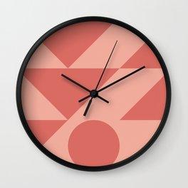 Warm Geometric Waves Wall Clock