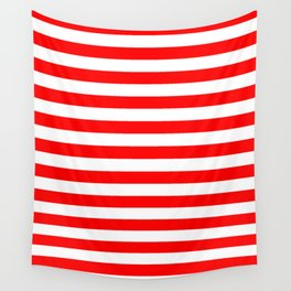 Narrow Horizontal Stripes - White and Red Wall Tapestry