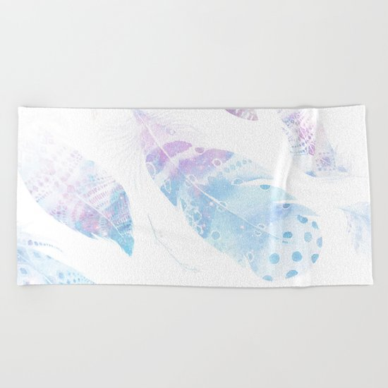 Faded galaxy feathers Beach Towel
