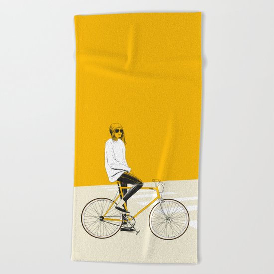 The Yellow Bike Beach Towel