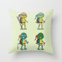 ninja turtles Throw Pillows featuring Teenage Mutant Ninja Turtles by Glimy