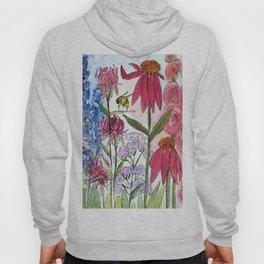 Watercolor Acrylic Cottage Garden Flowers Hoody