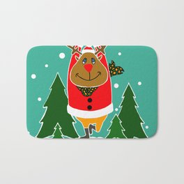 Christmas Deer Practicing Yoga Bath Mat
