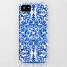 Cobalt Blue & China White Folk Art Pattern Slim Case iPhone (5, 5s)