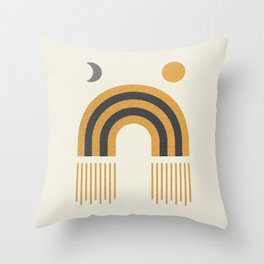Sun and Moon Rainbow Midcentury style Throw Pillow