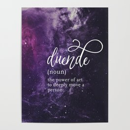 Duende Word Nerd Definition - Purple Universe Stars Poster