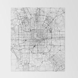 Beijing White Map Throw Blanket