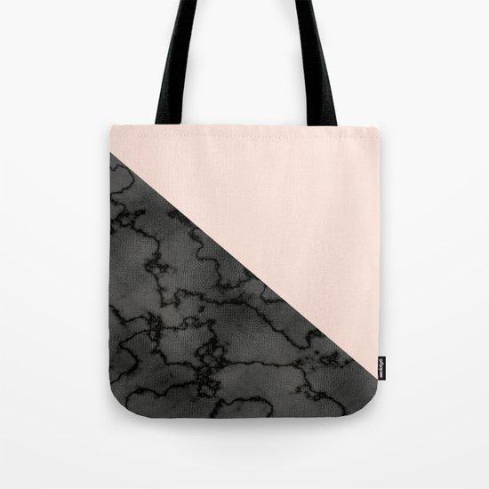 Peach and black dark marble Tote Bag