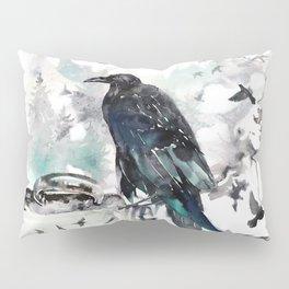 Blackwinged Birds Fly Past The Moonlit Raven's Eye Pillow Sham
