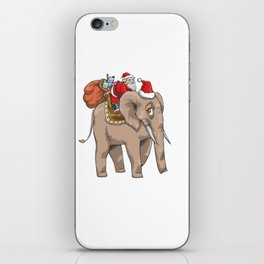 Santa Riding Elephant Delivering Gifts iPhone Skin