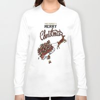 pugs Long Sleeve T-shirts featuring Pugs Christmas by Huebucket