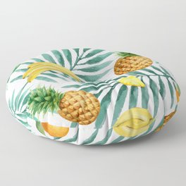 Tropical fruits. Banana, pineapple, palm leaves, coconut. Vintage watercolor hand painted illustration pattern. Floor Pillow