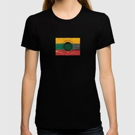 Old Vintage Acoustic Guitar with Lithuanian Flag T-shirt