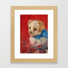 BRUNO LILJEFORS, HUNDVALP MED BLA BANDROSETT. Framed Art Print