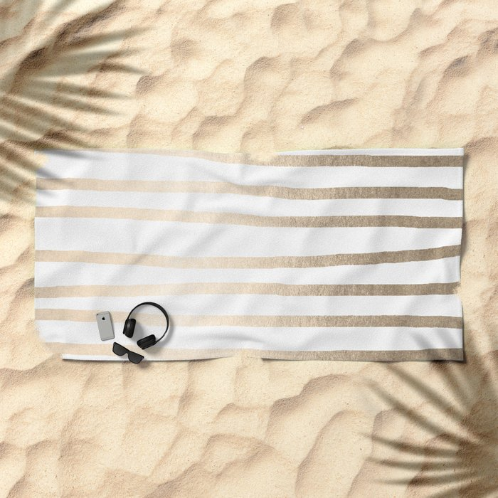 Simply Drawn Stripes in White Gold Sands Beach Towel