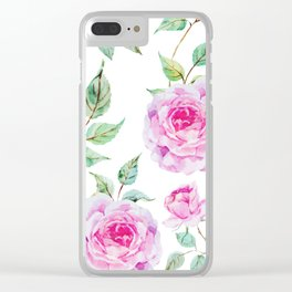 Roses Pink and White Shabby Chic Floral Clear iPhone Case