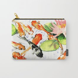 Koi Fish Pond, Feng Shui 9 koi fish art Carry-All Pouch