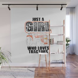 Cool Tractor Gift For Girls Kid Funny Farmer Toddler Farming T-Shirt Wall Mural