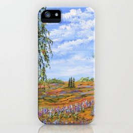 Lupines & Peaches, Modern Impressionism Painting, modern art iPhone Case