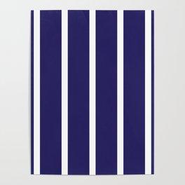 Navy White Stripes Design Poster