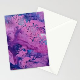 Puddling Purples Abstract Watercolor Painting Stationery Cards