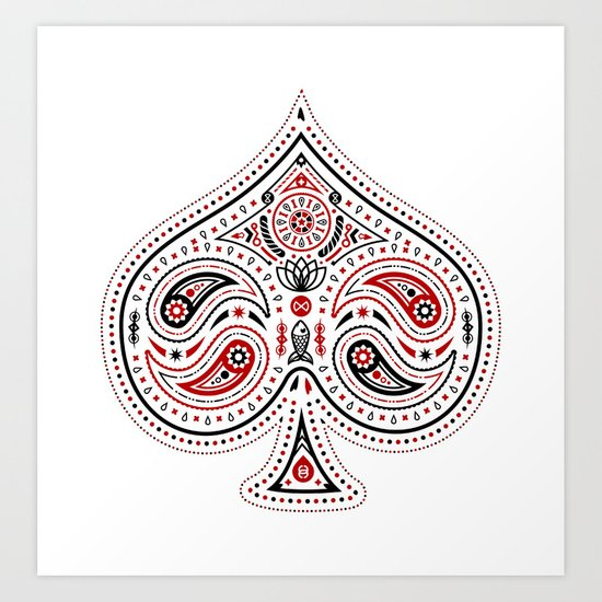 83 Drops - Spades (Red & Black) Art Print