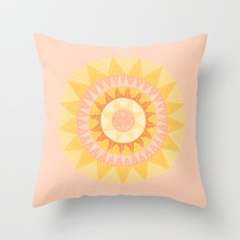 Happy Sunshine Pattern Pink and Yellow Throw Pillow