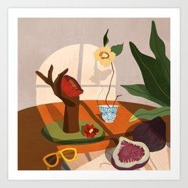 Figs and Camelia Art Print