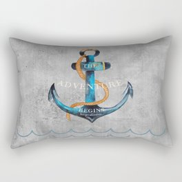 Maritime Design- Nautic Anchor Navy Marine Beach Rectangular Pillow