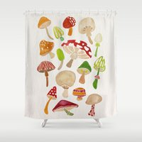 mushrooms Shower Curtains featuring Mushrooms by Cat Coquillette
