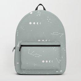 Moon phase boho zodiac sign moss mint green Backpack
