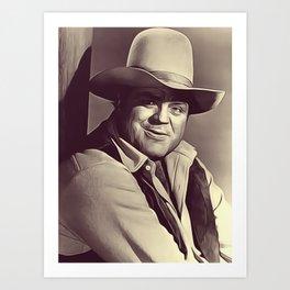 Dan Blocker, Vintage Actor Art Print