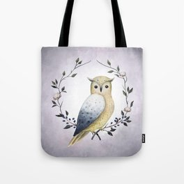 A Long Eared Owl On A Laurel Tote Bag