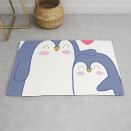 Cute Penguin Love Rug