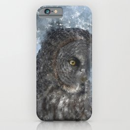Contemplation - Great Grey Owl Portrait iPhone Case