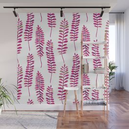 Watercolour Fern Pattern | Pink and Gold Wall Mural