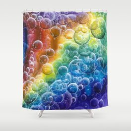 Rainbow of Impact Bubbles Shower Curtain