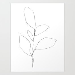 Five Leaf Plant Minimalist Line Drawing Kunstdrucke