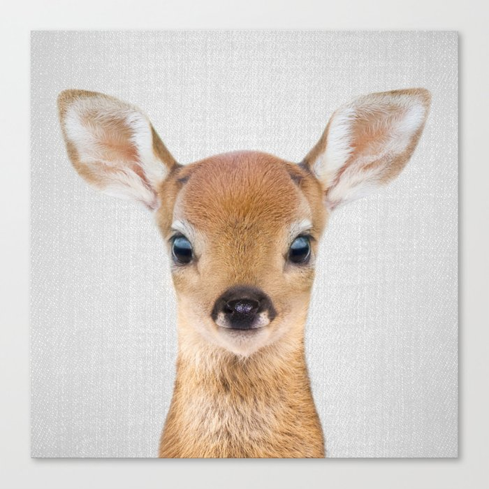 Baby Deer - Colorful Canvas Print