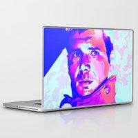 blade runner Laptop & iPad Skins featuring RICK DECKARD // BLADE RUNNER by mergedvisible