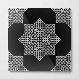 Black and White Celtic Star Metal Print